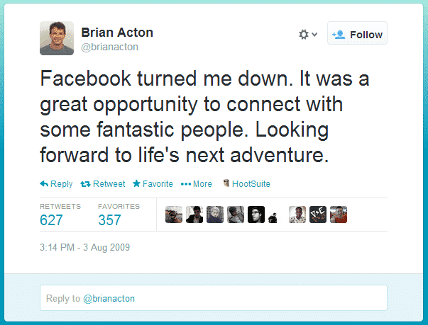 Brian Acton, facebook, rejected, turned down, whatsapp, buy, bought