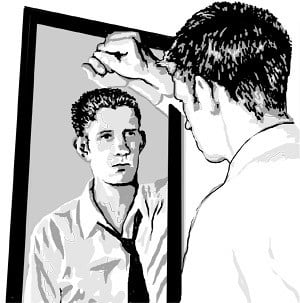 depression, man, mirror, look