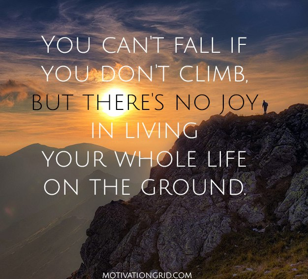 You can't fall if you don't climb but there is no joy in living your whole life on the ground