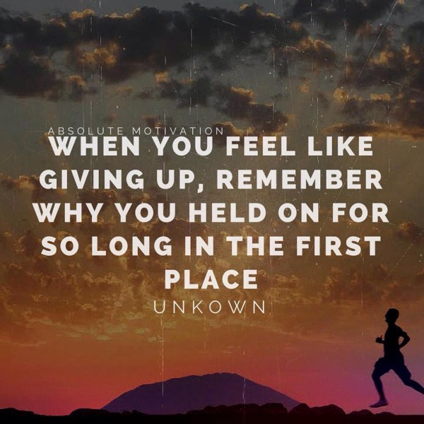 When you feel like giving up, remember why you held on for so long in the first place.