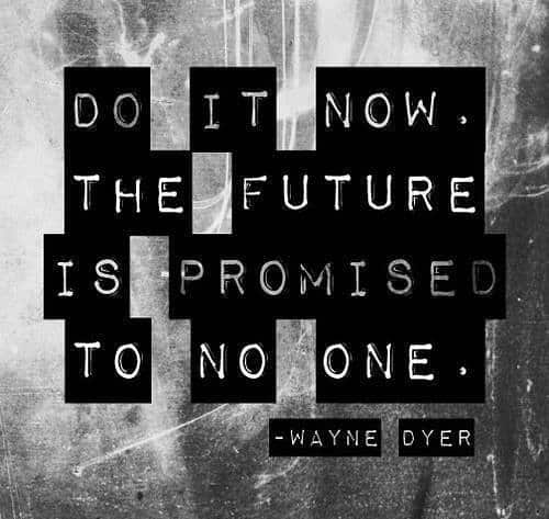 inspirational picture quote, do it now the future is promised to no one.