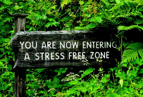 You are entering a stress-free zone sign