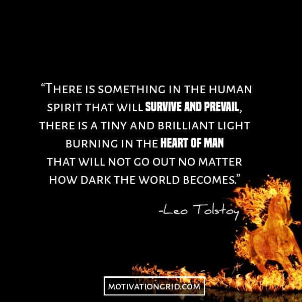 Leo Tolstoy quotes image about the human spirit, inspirational, fire in the heart