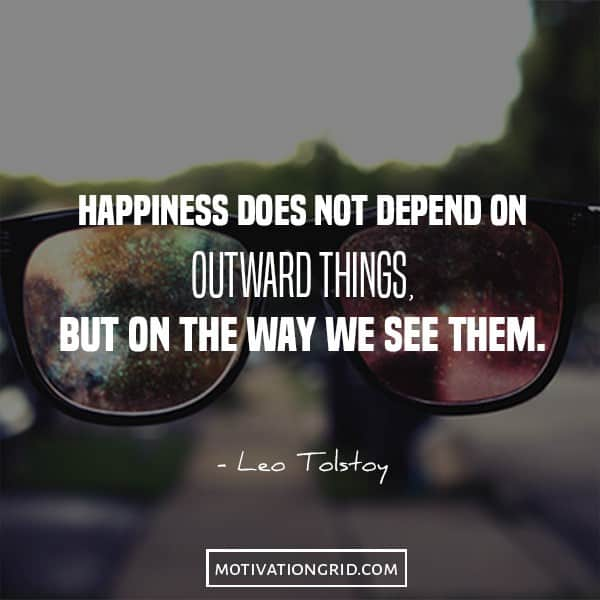 Leo Tolstoy quote image about happiness, the way you see the world, image
