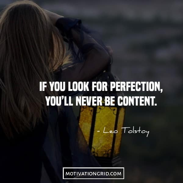 Leo Tolstoy quote about perfection and being content