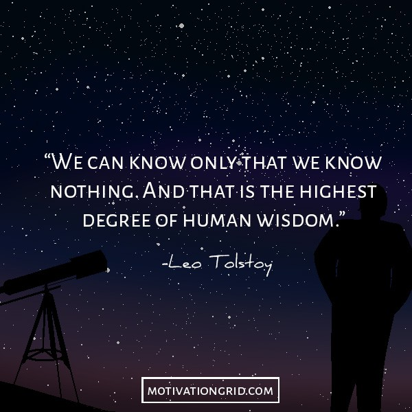 Leo Tolstoy about knowing nothing, quote image