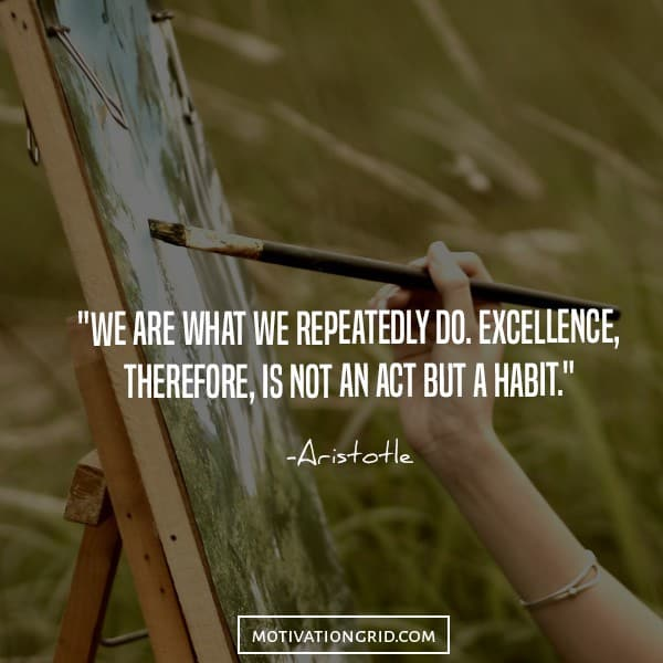 Inspiring quote about excellence, habit, aristotle