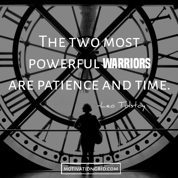 Leo Tolstoy quote image about time and patience, inspirational