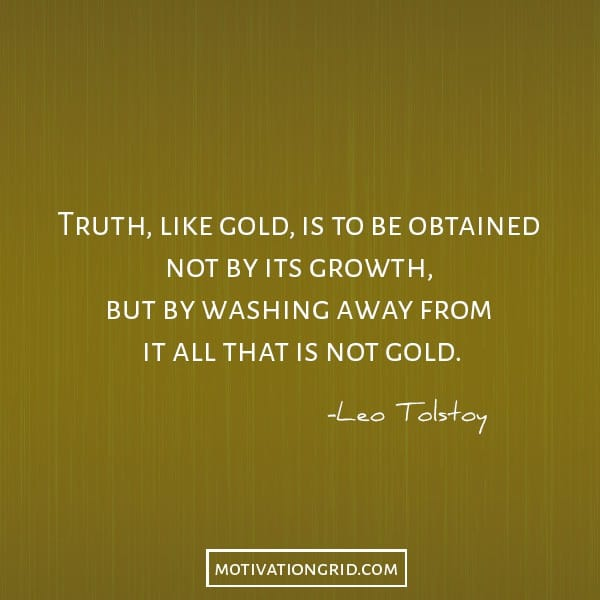 Leo Tolstoy about the truth and gold image quote