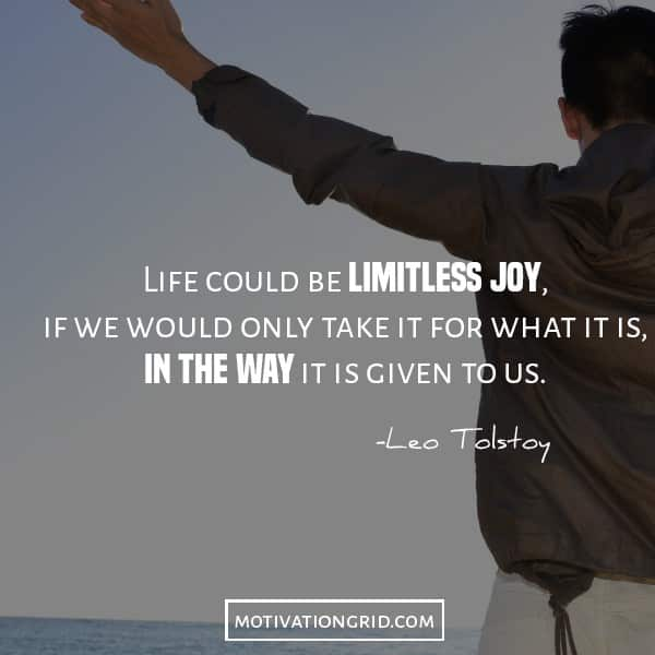 Leo Tolstoy quote image about limitless joy