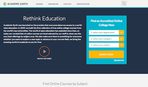 Academic Earth, free online education