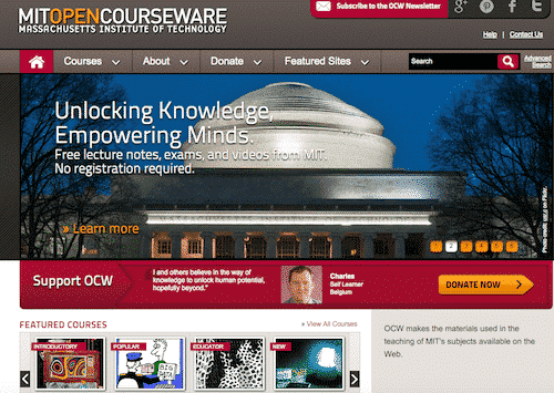 Mit Open Courseware, places to educate yourself online for free