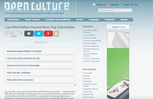 Open Culture, online education for free