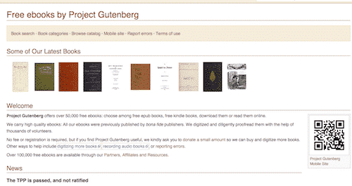 online free education at Project Gutenberg