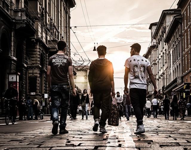 rich, boys walking into the sunset